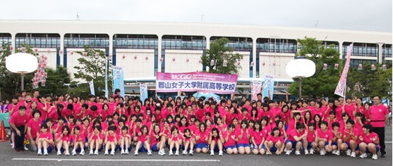 うねめ踊り流しに参加した附属高校生と高校教職員