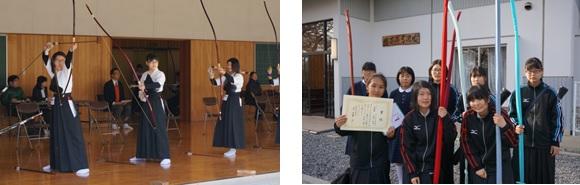 団体戦の様子(左) 第2位となった菅野さん(前列左)(右)