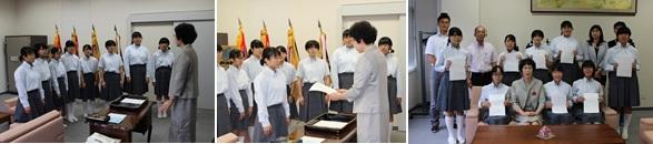 新役員への校長訓示(左)、任命状授与(中央)、任命式後の記念写真(左)